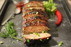 Smakowity pokrojony indyczy meatloaf Fotografia Royalty Free