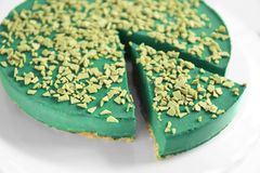 Smakowity spirulina cheesecake Fotografia Stock