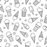 Smakowitych lodów bezszwowy wzór Ręka rysunkowego koloru nakreślenia wektoru ilustracja Zdjęcie Royalty Free