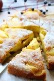 Smaksatt kaka med skivor av äpplet och kvitten arkivfoto