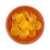 Smaksatte hostadroppar för maträtt citron Royaltyfria Foton