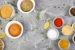 Smaktillsatsbakgrund Torkad krydda- och ?rtsmaktillsats med nytt och royaltyfri fotografi