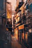 Smal bakgata i gammal stad på aftonen Arkivbilder