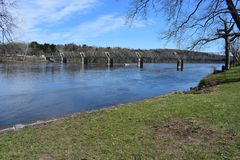 Smal bro på Washington Crossing, Pennsylvania royaltyfri foto