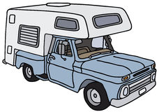 Smal caravan. Classic small american caravan, vector illustration, hand drawing Royalty Free Illustration