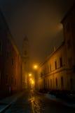 Smal gata i Parma på den fuggy aftonen Fotografering för Bildbyråer