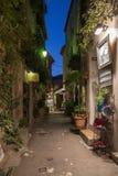 Smal gata med blommor i den gamla staden Mougins i Frankrike Ni Royaltyfria Foton