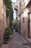 Smal gata med gammala hus Arkivbild