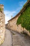 Smal gata, stenhus och murgröna i en forntida by Royaltyfri Bild
