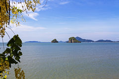 Smal island and water on seaside Stock Photography
