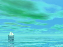 Smal sailboat - 3D render. One small sailboat floating on the water by green cloudy day - 3D render stock illustration