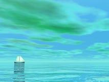 Smal segelbåt - 3D framför stock illustrationer