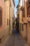 Smala gator av den Toledo staden i Spanien Arkivfoto