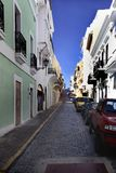 Smala gator av San Juan royaltyfri foto