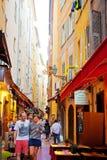 Smala gator i Nice Arkivbilder