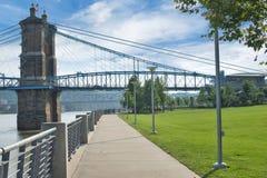 Smale Riverfront Park in Cincinnati, Ohio next to the John A Roe. Bling Suspension Bridge stock photos