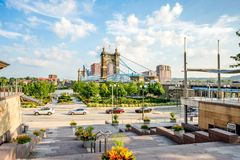 Smale Riverfront Park in Cincinnati, Ohio next to the John A Roe. Bling Suspension Bridge stock photos