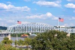 Smale Riverfront Park in Cincinnati, Ohio next to the John A Roe. Bling Suspension Bridge royalty free stock photo
