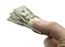 Small 20 Dollar Bills in Hand Stock Photos