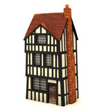 Small 3D house. Traditional small brick and timber house (Normandy style) on white Royalty Free Stock Photos