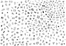 Small abstract symbols drawn with a pen. white background stock photography