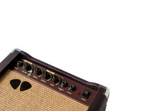 Small acoustic guitar amplifier with pick guitar Royalty Free Stock Photography