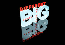 Small actions, big different 3d text Royalty Free Stock Photos