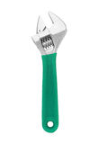 Small Adjustable Wrench isolated on white background. A Small Adjustable Wrench with insulated green handle isolated on white background Stock Images