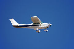 Small aeroplane. Small airplane against blue sky Stock Images