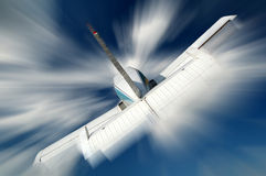 Small aeroplane. Small aircraft flying in the sky Stock Photo