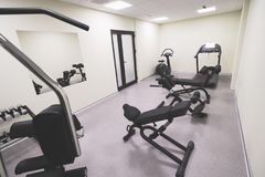 Small affordable home gym. With fitness quipment Royalty Free Stock Photography