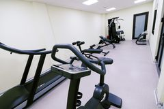 Small affordable home gym. With fitness quipment Royalty Free Stock Images