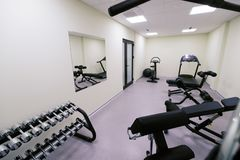 Small affordable home gym. With fitness quipment Royalty Free Stock Photo