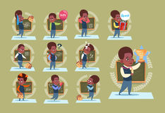 Small African American School Boy Standing Over Class Board Schoolboy Emotion Set. Flat Vector Illustration Stock Photo