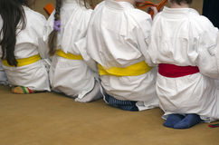 Small aikido fighters Royalty Free Stock Photo