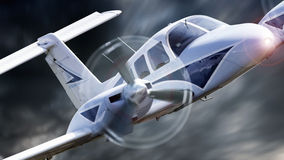 Small aircraft. Close up of a private aircraft flying through stormy weather stock images