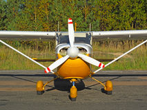 Small aircraft. Close up photo of small propeller airplane Royalty Free Stock Photos
