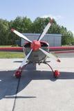 Small aircraft with central propeller Stock Photos