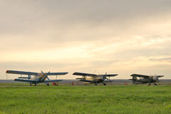 Small aircraft. Small aircraft are on a rural airfield Royalty Free Stock Photo