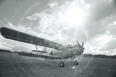 Small aircraft takeoff. Black and white image small aircraft takeoff stock images