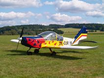 Small airplane. On a airfield Stock Photos
