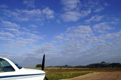 Small airplane in the Airclub with a beautiful sky in the background. Brazil country side 2019 small airplane royalty free stock images
