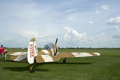 Small airplane at aviation show, raw Royalty Free Stock Photos