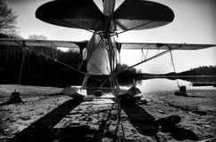 Small Airplane B&W 1. A small airplane parked on a beach with pontoons Stock Images