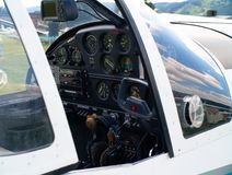 Small airplane cockpit. In details Royalty Free Stock Images