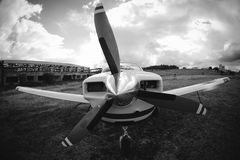 Small airplane on  grass Stock Photo