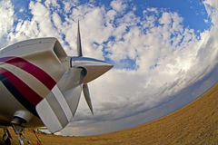 Small airplane on  grass Royalty Free Stock Image
