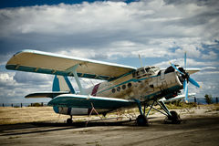Small airplane on  grass Royalty Free Stock Photography