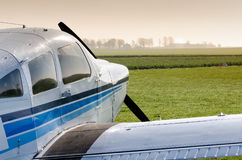 Small airplane on ground stock photography