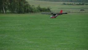 Small airplane landing stock footage